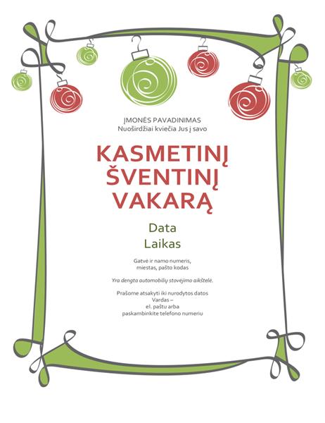 Kvietimas į šventinį pobūvį su ornamentais ir raitytu rėmeliu (neformalaus dizaino)
