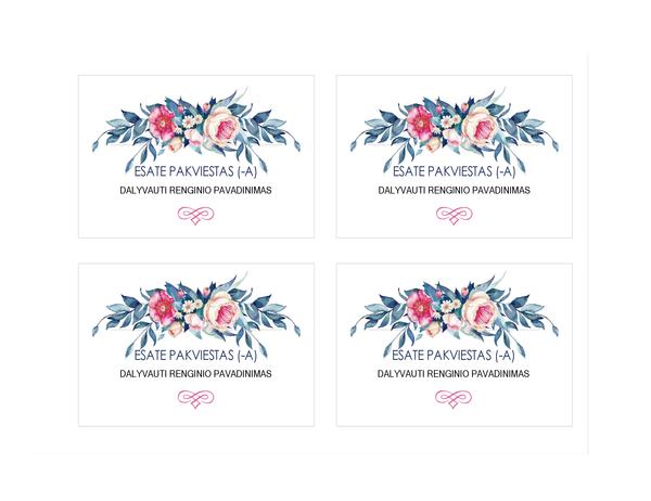 Kvietimas į vakarėlį (dizainas – gėlės)