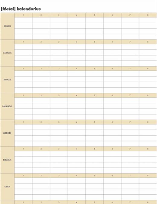 Neribotos trukmės kalendorius (horizontalus)