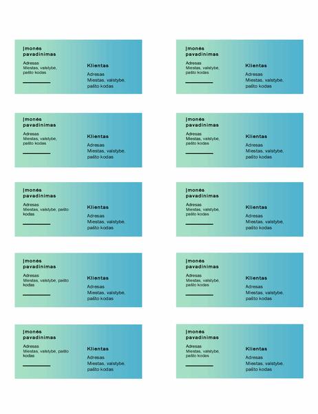 """Siuntimo etiketės (žalio gradiento dizainas, 10 puslapyje, veikia su """"Avery"""" 5163)"""