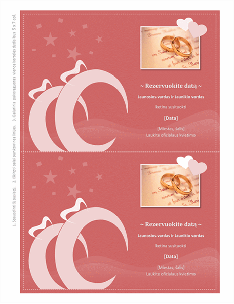 Vestuvių datos rezervavimo kortelė