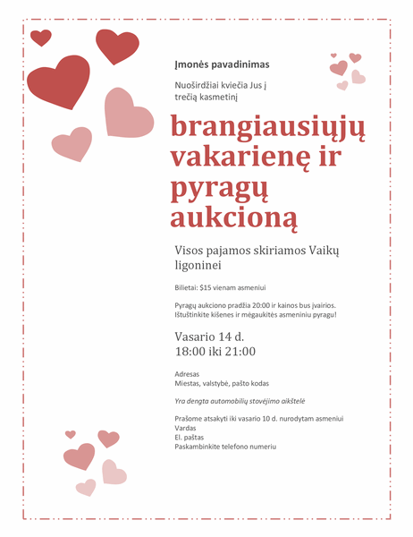 Kvietimas į Valentino dienos pyragų aukcioną