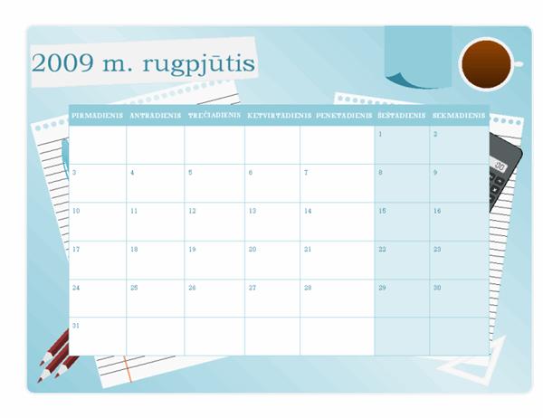 2009–2010 m. akademinis kalendorius (rgp–rgp, pr–sk)