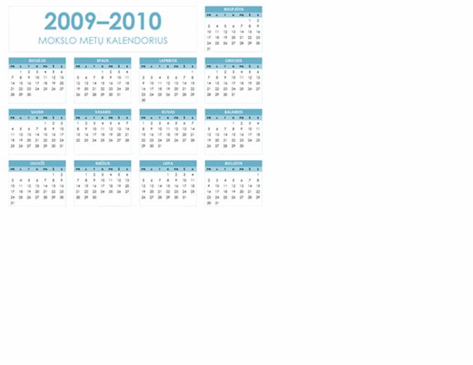 2009–2010 m. akademinis kalendorius (1 psl., gulsčias, pr–sk)