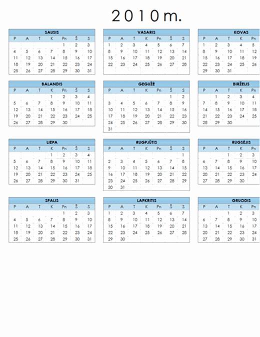 2010 m. kalendorius (1 psl., kraštovaizdis, Pr–S)