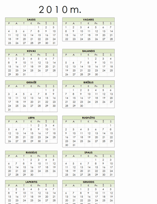 2010 m. kalendorius (1 psl., portretas, Pr–S)