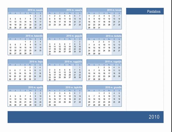 2010 m. kalendorius su vieta užrašams (1 psl., Pr–S)