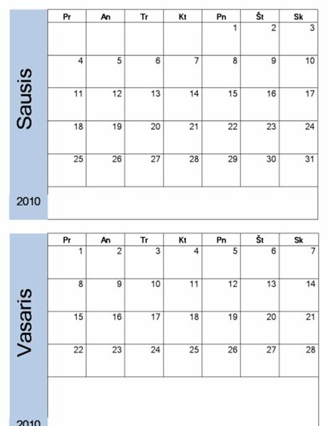 2010 m. kalendorius su mėlynu rėmeliu (6 psl., Pr–S)