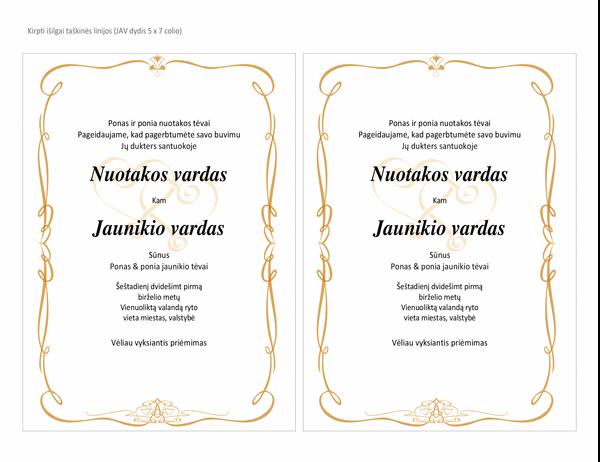 Vestuviniai kvietimai (širdies formos dizainas, A7 dydis, 2 viename puslapyje)