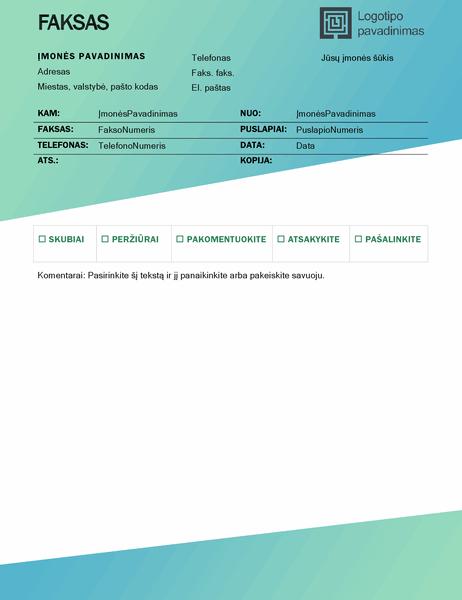 Faksogramos viršelis (žalio gradiento dizainas)