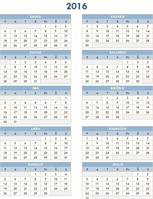 2016–2025 metų kalendorius