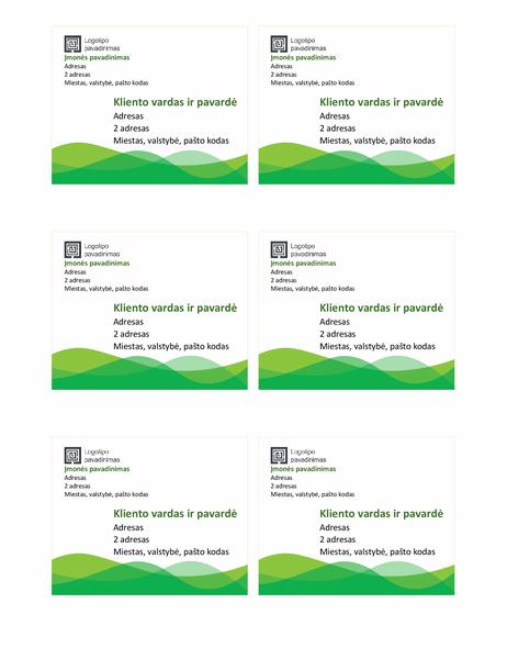 """Gabenimo etiketės (dizainas """"Žalios bangos"""", 6 viename puslapyje)"""