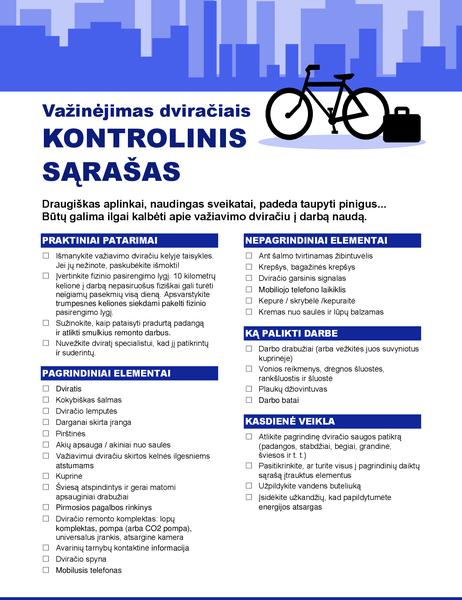 Kelionės į darbą ir atgal dviračiu kontrolinis sąrašas