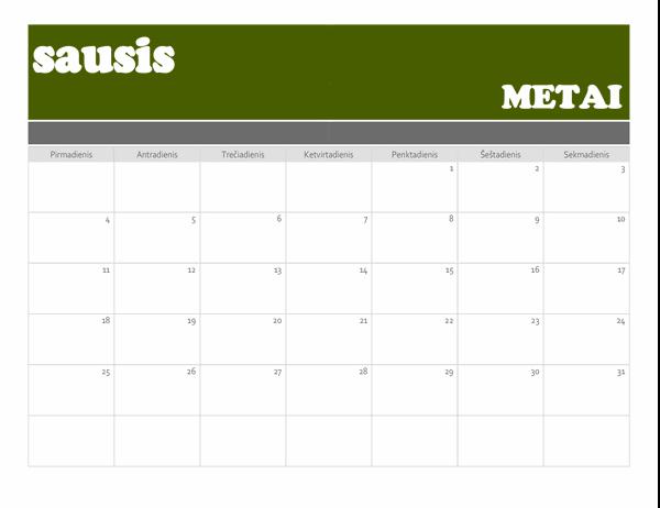 Reklaminės juostos kalendorius