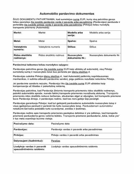 Automobilio pardavimo dokumentas