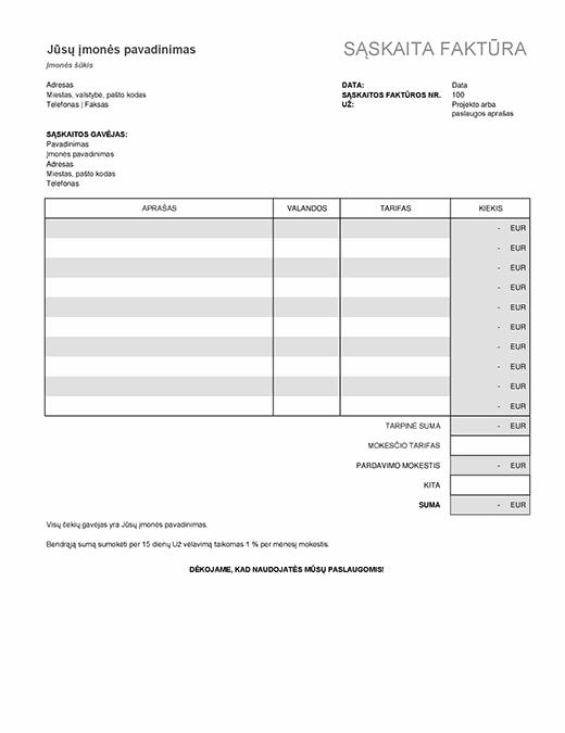 Paslaugų sąskaita faktūra su mokesčių apskaičiavimu