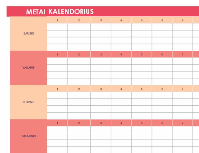 Kalendorius (bet kurių metų, horizontalus)