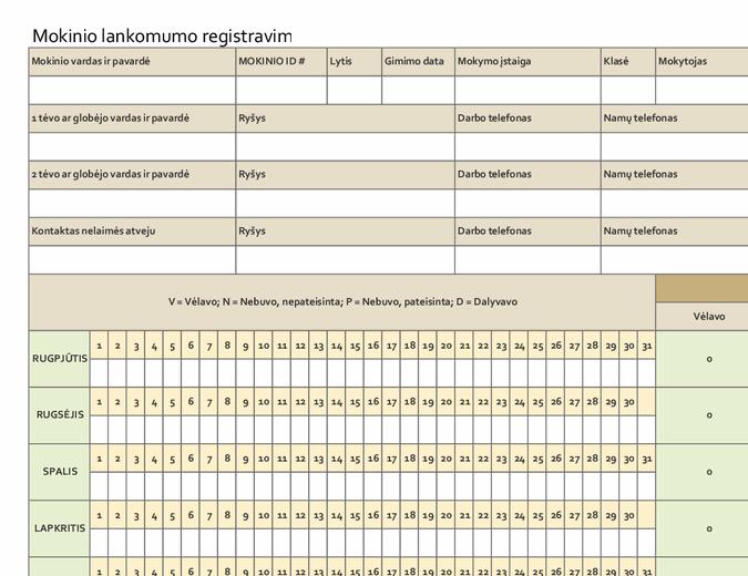 Mokinio lankomumo registravimas (paprastas)