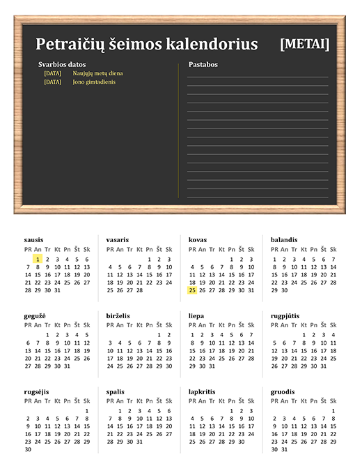 Šeimos kalendorius (bet kurių metų, Pr–Sk)