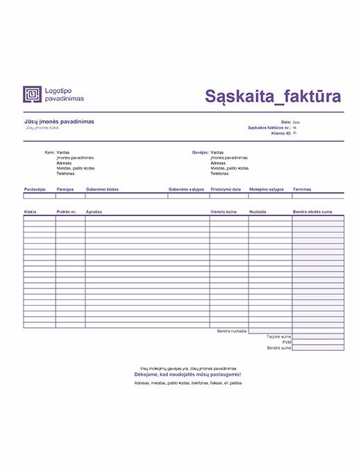 Pardavimo sąskaita faktūra (paprastas linijinis dizainas)