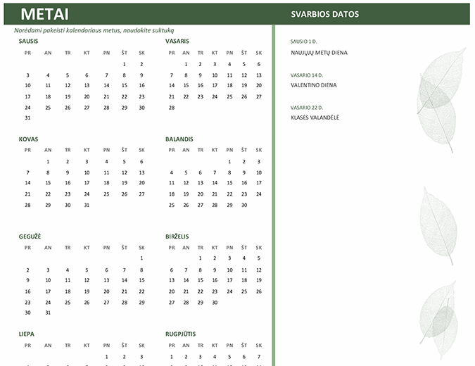 Verslo kalendorius (bet kurių metų, Pr–Sk)