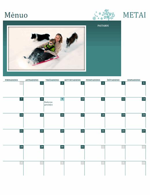 Šeimos metų laikų kalendorius (bet kurių metų, Pr–Sk)