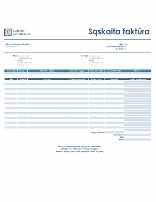 Pardavimo sąskaita faktūra (paprastas mėlynos spalvos dizainas)