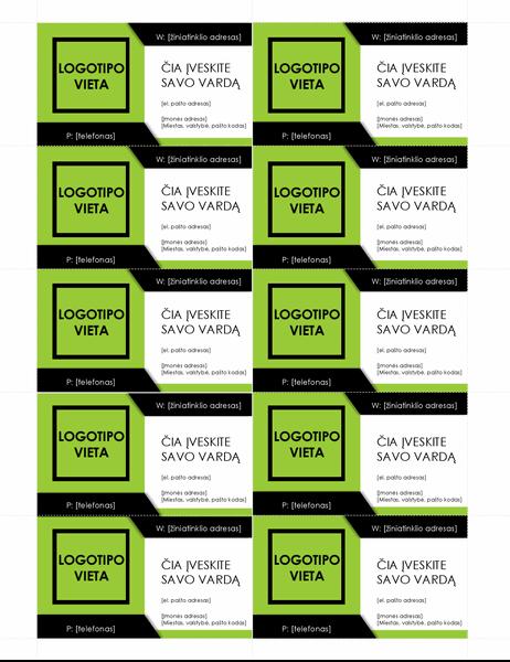 Vizitinės kortelės su paryškintu logotipu (10 puslapyje)