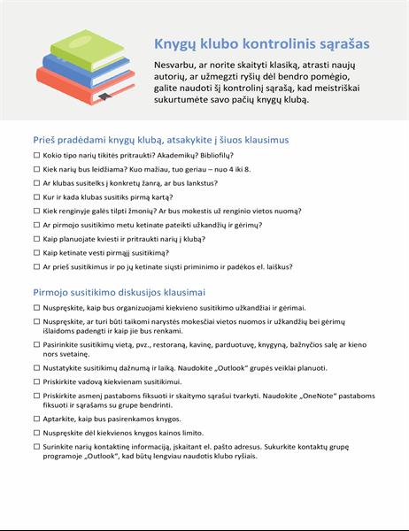 Knygų klubo kontrolinis sąrašas