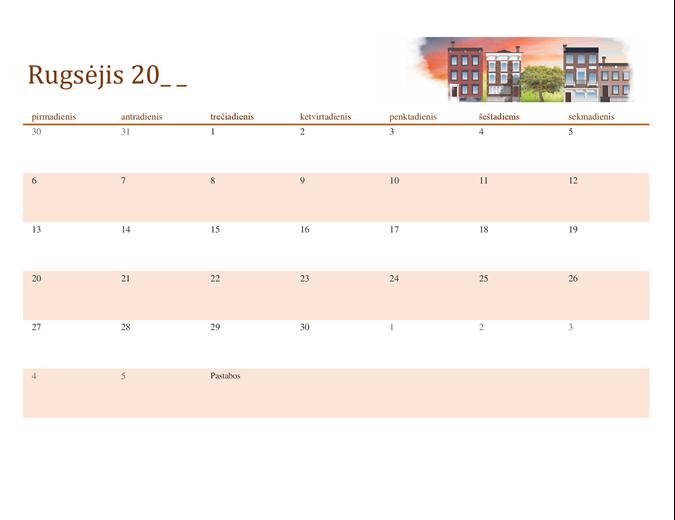 Sezoninis iliustruotas bet kurių kalendorinių metų kalendorius