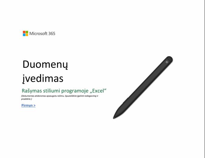 """Sveikiname pradėjus naudoti """"Excel"""""""