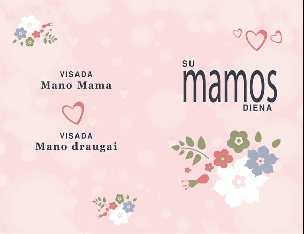 Gražus rožinis motinos dienai skirtas atvirukas