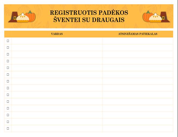 Registruotis Padėkos šventei su draugais