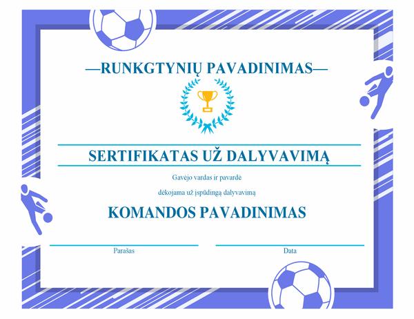 Keturioms sporto šakoms tinkamas apdovanojimo sertifikatas