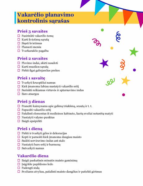 Vakarėlio planavimo kontrolinis sąrašas