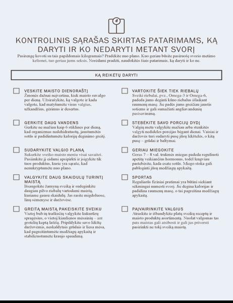 Kontrolinis sąrašas skirtas patarimams, ką daryti ir ko nedaryti metant svorį