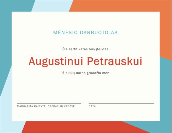 Mėnesio darbuotojo sertifikatas