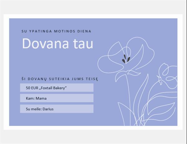 Motinos dienos progai skirti dovanų sertifikatai