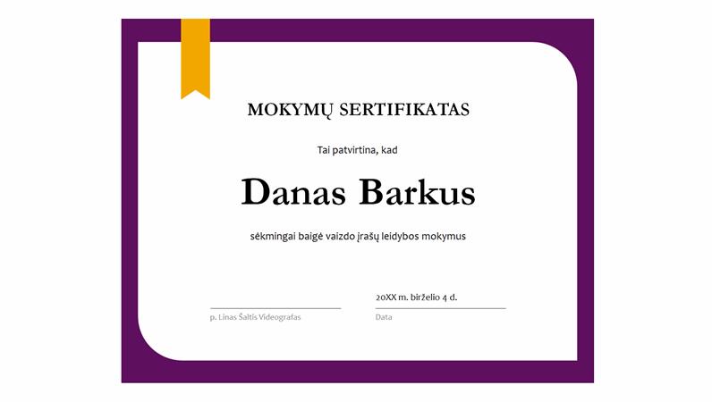 Mokymų sertifikatas