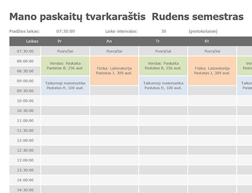 Paskaitų tvarkaraštis
