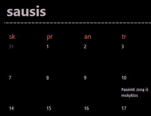 Žaliojo kalendorius skirtukai (juodi)
