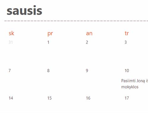 Žaliojo kalendoriaus skirtukai (balti)
