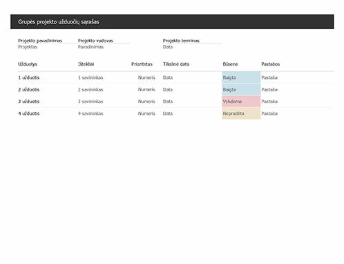 Grupės projekto užduočių sąrašas