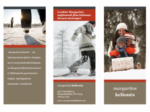 Trijų dalių kelionių bukletas (raudonas ir pilkas dizainas)