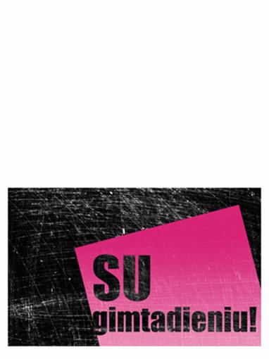 Gimtadienio atvirukas subraižytu fonu (rožinis, juodas, perlenkiamas pusiau)