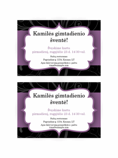 Kvietimas į vakarėlį (violetinės juostelės dizainas)