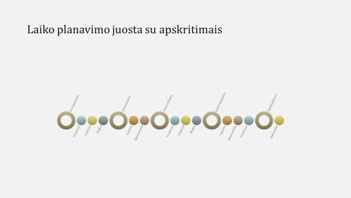Įvykių laiko planavimo juostos diagramos skaidrė (plačiaekranė)