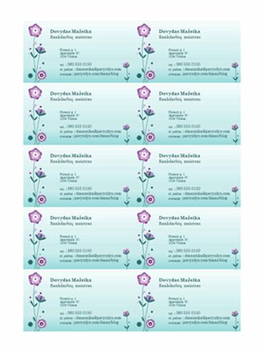 Vizitinės kortelės (iliustruotos gėlėmis, 10 puslapyje)