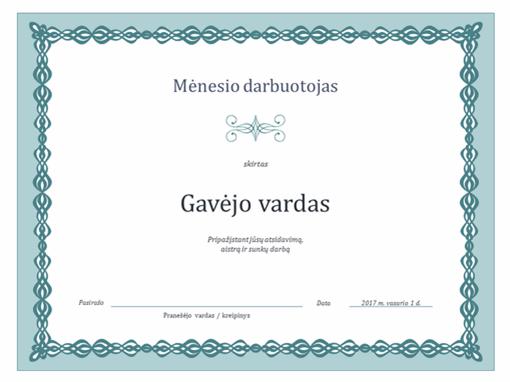 Mėnesio darbuotojo sertifikatas (dizainas su mėlyna grandinėle)