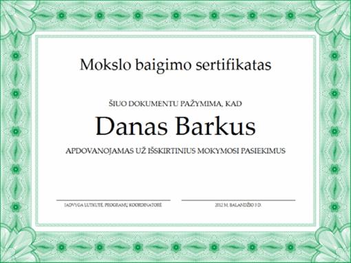 Mokslo baigimo sertifikatas (formalios žalios kraštinės)
